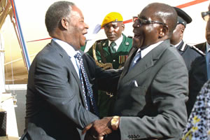 File: President Mugabe (l) with his Zambian counterpart Sata shares a light moment