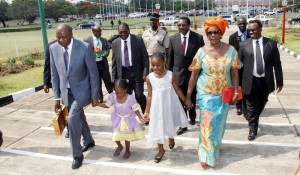 File: Finance Minister Chikwanda accompanied by wife and Grandchildren arrives to present the Budget
