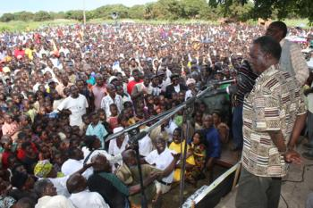 PF leader Sata addressing a rally in the run up to 2011 elections in Luapula province. Photo source: Post