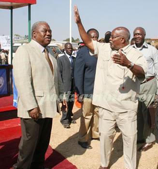 File: Munkombwe (r) with ex-president Rupiah Banda