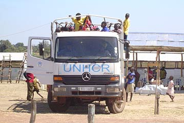 Refugees in a UNHCR Truck