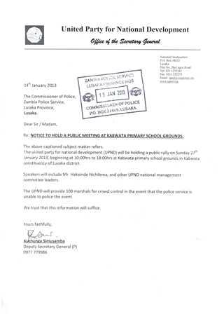 UPND letter to Police