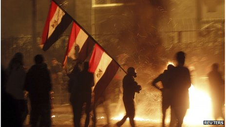 Protests in the capital, Cairo, continued into the night