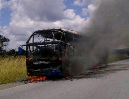 Bus in fire