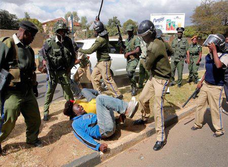 Police beating UPND cadres who were having peaceful protest