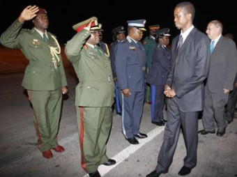 File: Defense Chiefs saluting Acting President Edgar Lungu at Kenneth Kaunda International Airport