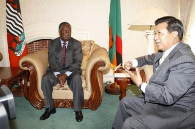 President Sata with Chinese Ambassador to Zambia Zhou Yuxiao at State-House