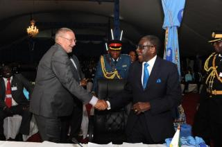 File: President Mugabe meets Guy Scott in Malawi during COMESA Summit
