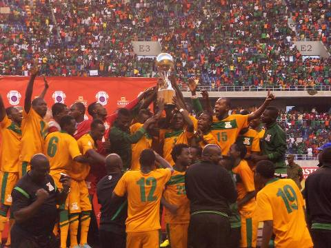 Zambia celebrates after lifting the trophy