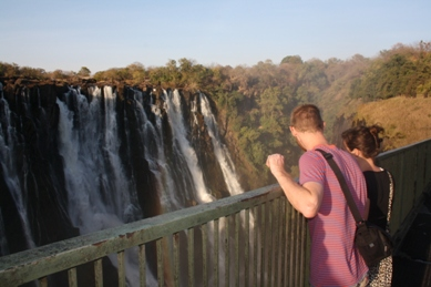 Tourists at the Victoria Falls on Sunday, July 28, 2013