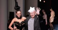 Jean Paul Gaultier clowns around at Paris fashion