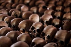 The skulls of Rwandan victims rest on shelves at a genocide memorial inside the church at Ntarama jus