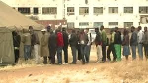 People have been forming long queues at one polling station in Harare, as Nomsa Maseko reports.