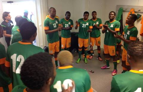 The Chipolopolo Boys as they always do, sings praises to God before going for the warm up. Pictures Courtesy of FAZ