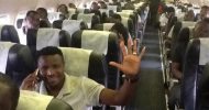 Chipolopolo Boys in the plane waiting to take off for Ghana