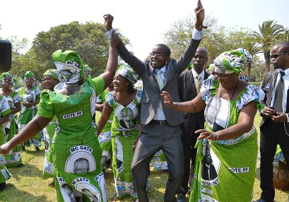 File: Cosmo Mumba with PF cadres during the official opening of Parliament