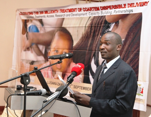 Dr. Nathan Mulure - Africa Operations Manager Novartis Malaria Initiatives during launching the campaign in Lusaka