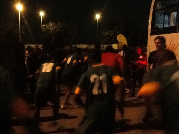 Chipolopolo work-out on the car park with Ghanaian fans booing them in the back ground