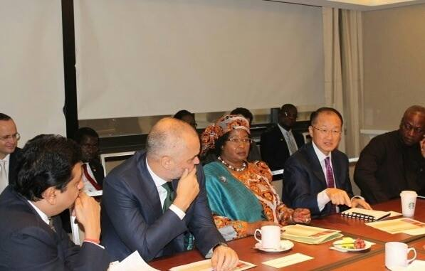 Malawi's Joyce Banda with donors during the meeting