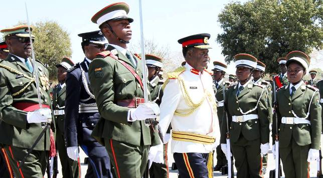 President Sata during the commsioning parade of the Zambia Army's officers Cadets in Kabwe on September 6,2013 -Picture by EDDIE MWANALEZA