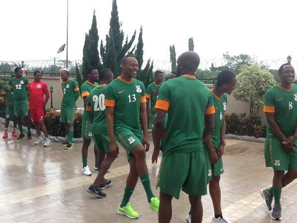 The big defender Sunzu is all smiles as is rest of Chipolopolo. You can't beat the spirit of this team. All ready