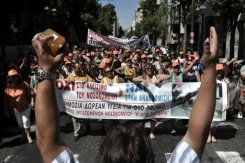 Hospital staff demonstrate in central Athens on September 4, 2013 to protest an overhaul of the health sector and government plans for a controversial redeployment scheme.