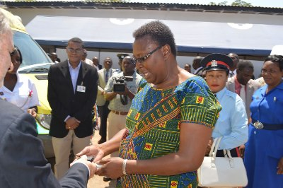 Central Province Permanent Secretary Edwidge Mutale  receives the Keys