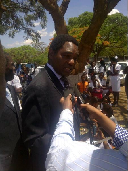 Hichilema when he visited UTH