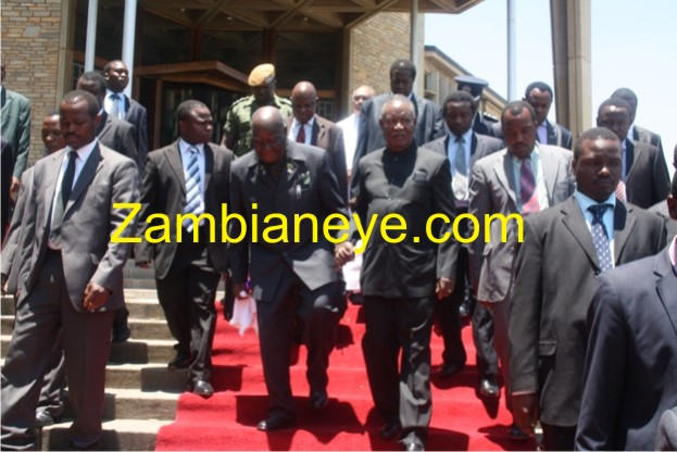 President Sata and Dr. Kaunda leaving the Catheral