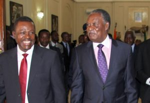 File: President Sata with Kabimba at State House