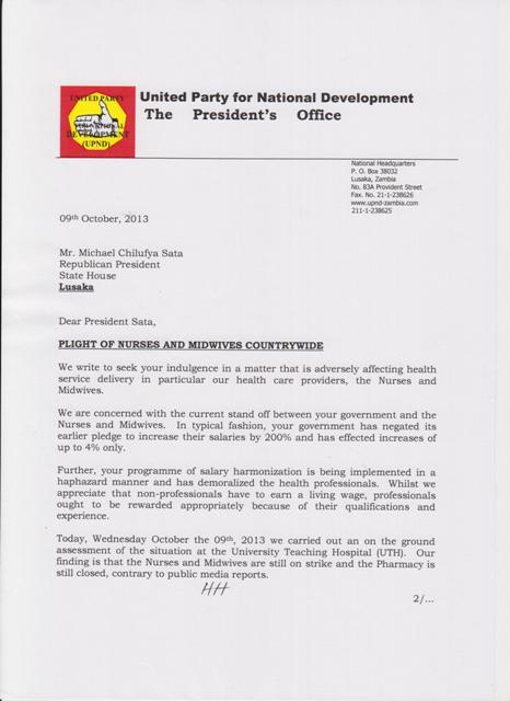 UPND letter to Sata
