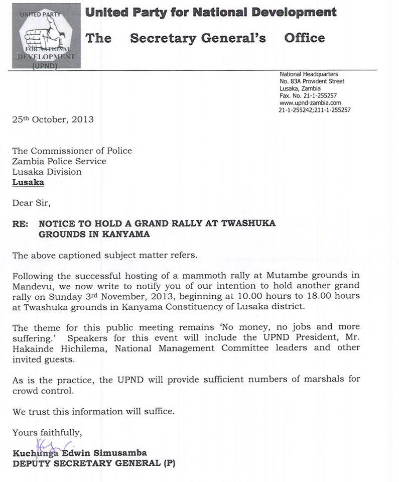 UPND rally letter