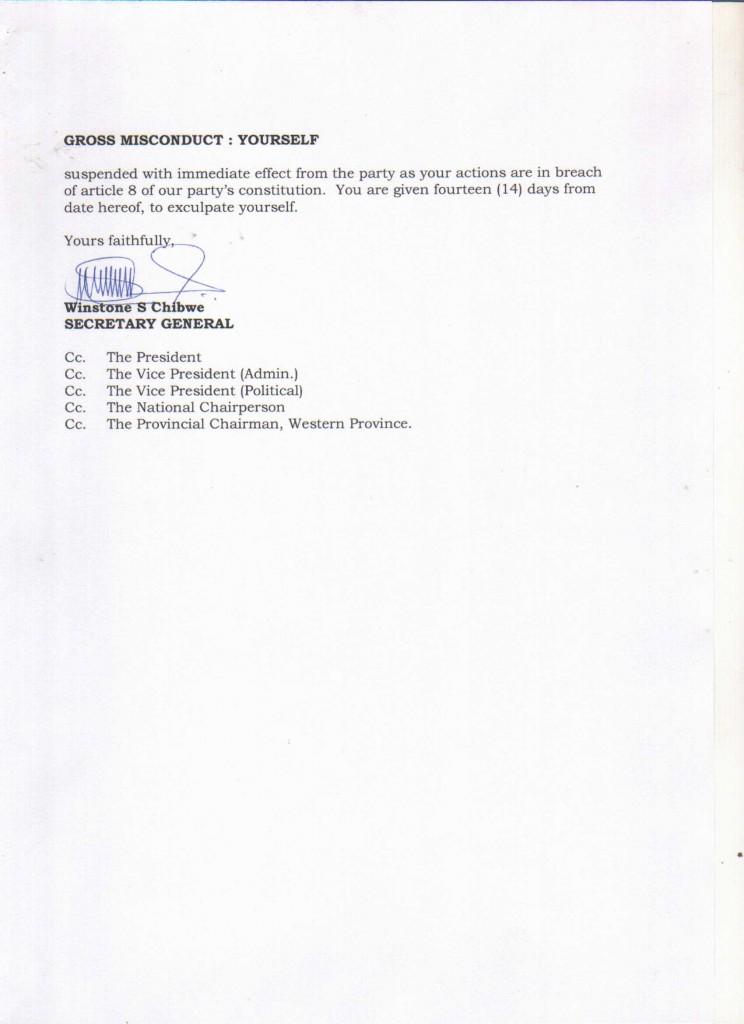 UPND suspends 1