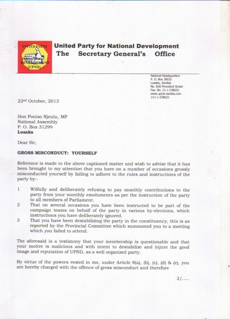 UPND suspends MP