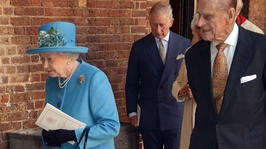 The Queen and the Duke of Edinburgh arrive at the service