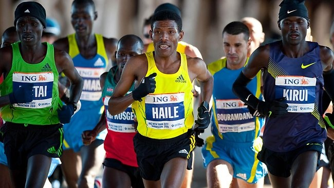 Gebrselassie runs with the pack during the New York City Marathon in 2010. The 40-year-old still trains twice a day, clocking up 35 kilometres every day. Picture: AP