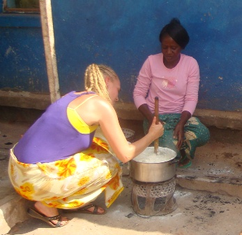 Janice Reitsma cooking local main food, nsima