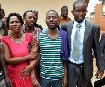 Masumba at prison with family
