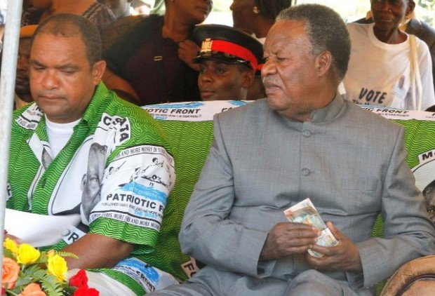 File: President Sata with Evans during campaigns