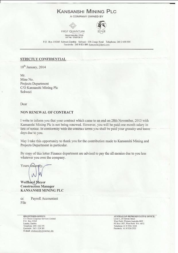 70 zambian employees laid off at kansanshi mine kansanshi workers letter altavistaventures Choice Image