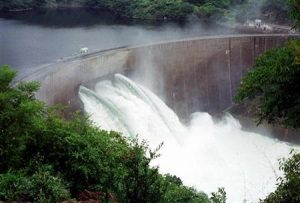 KARIBA DAM OPENS THREE FLOODGATES.