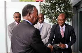 File: Mukwita (r) greeting President Sata.