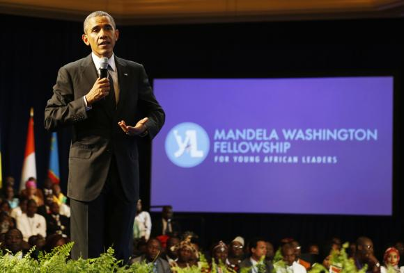 U.S. President Barack Obama speaks at the Summit of the Washington Fellowship for Young African Leaders at the Omni Shoreham Hotel in Washington, July 28, 2014