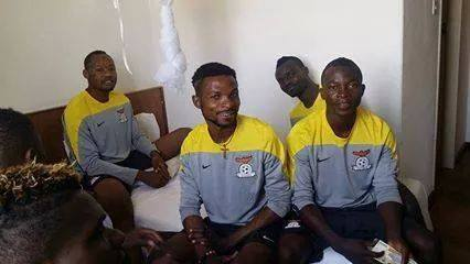 Some of the players in the hotel room in Ndola