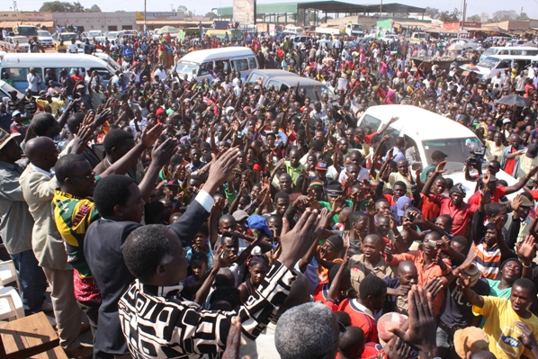 HH and UPND leaders at a rally in Solwezi during a by-election
