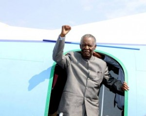 President Sata arriving in Solwezi. Photos by State House