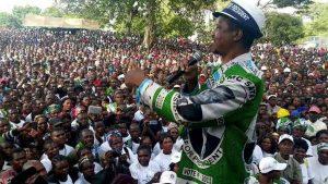 Lungu addressing a rally in Mungwi