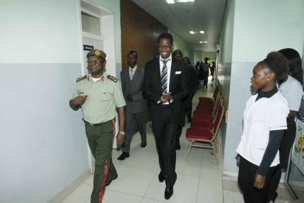 President Edgar Chagwa Lungu (centre) leaves Maina Soko Military Hospital after undergoing medical examination on Wednesday,January 28,2015