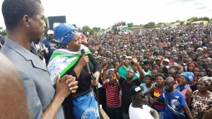 Dora Siliya addresses the crowd flanked by Edgar Lungu