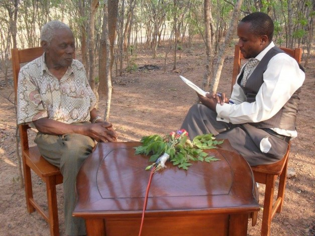 Elias Chipimo Sr, the father to NAREP president Elias Chipimo Jr in an interview with Owen Miyanza during the recording of The Archives TV Programe in New Kasama.